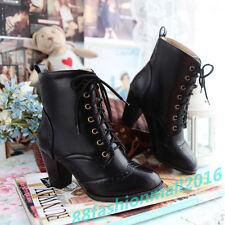Gr33-39-48 Damen Stiefel Block Heels Stiefeletten Schwarz Braun Schuhe Stiefel