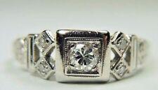 Antique Vintage Deco Platinum Diamond Engagement Ring Ring Size 6.75 UK-N UK-N