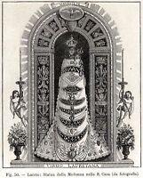 Loreto: Statua della Madonna nella Santa Casa. Stampa Antica + Passepartout.1898