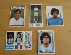 1982 /86 MARADONA + 1976 / 77 /78  MICHEL PLATINI  1ére  PANINI NEUVES