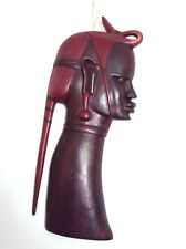 Hand Carved African Wooden Tribal Male Head Wall Art Sculpture Brown Red