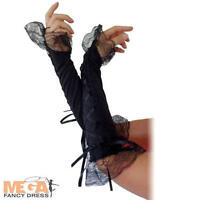 Ladies Black Lace Up Gloves Fancy Dress Burlesque Show Girl Costume Accessory