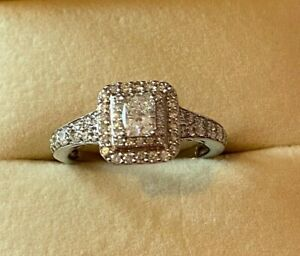 Platinum Double Halo Ring with Shoulder Diamonds