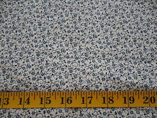 Vintage Blue Floral Cotton Calico Fabric BTY