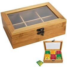 BAMBOO BOX per tè coperchio a battente 6 scomparti sezioni Caddy petto Container di immagazzinamento