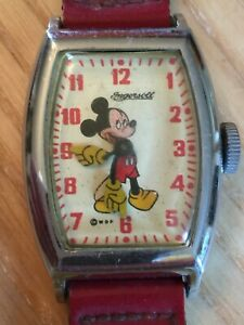 Vintage Mickey Mouse Wristwatch by Ingersoll US Time Walt Disney Productions WDP