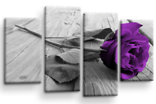 Floral Rose Wall Art Purple White Grey Canvas Flowers Picture Split Panel