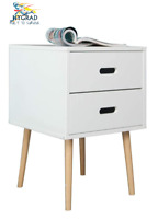 Retro White Wooden Bedroom Bedside Table Nightstand Cabinet Storage 2 Drawers