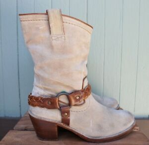 Frye Beige Brown Roughout Suede Leather Harness Mid Calf Mid Heel Boots 9.5B