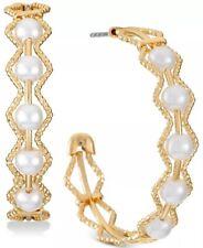 alfani gold tone medium imitation pearl hoop earring post back closure new