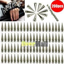 200Pcs 26mm Silver Spots Cone Screw Metal Studs Leathercraft Rivet Bullet Spikes