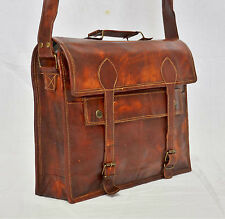"17"" Large brown Leather bag for men messenger bag shoulder bag mens Laptop Bag,"