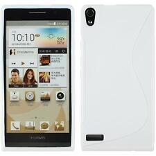 Coque en Silicone Huawei Ascend P6 - S-Style blanc + films de protection