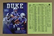 2018 Virginia Tech Hokies at Duke Blue Devils Football Program + Roster Card