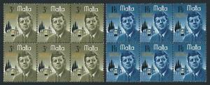 Malta 353-354 blocks/6,MNH.Michel 342-343. John F.Kennedy,1966.