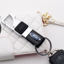 For Ford Alloy Black Leather Keychain Ring LED Flashlight Opener Home Car Gift