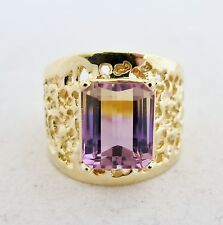 Retro 18K Yellow Gold Ring with 11mm Bi-Color AMETRINE  (8.7g, size 8.25)