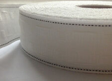 """NEW 2"""" Inch 50mm White Curtain Heading Header Tape - 10 Metres UK SELLER"""