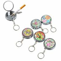Portable Pocket Stainless Steel Round Keychain Cigarette Car Ashtray Decor Z7E4