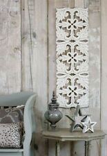 XL Long Distressed White Filigree Hand Carved Wooden Statement Wall Panel 90cm