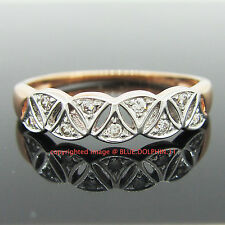 Real Genuine Solid 9ct Roae Gold Ingot Engagement Wedding Ring Simulated Diamond