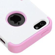 For Apple iPhone 5 Rubber IMPACT TUFF HYBRID Case Skin Phone Cover White Pink