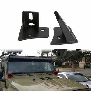 2pcs A-Pillar LED Light Windscreen Mount Bracket Fits Jeep Wrangler JK 2007-2018