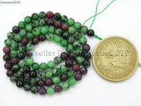 Natural Ruby In Zoisite Gemstone Round Beads 15.5'' 4mm 6mm 8mm 10mm 12mm 14mm