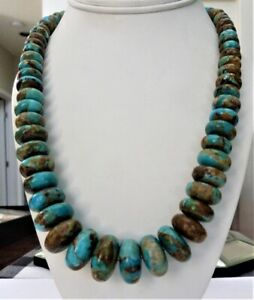 HUGE JAY KING MINE FINDS DTR STERLING SILVER GRADUATED TURQUOISE BEAD NECKLACE