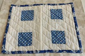 Vintage Patchwork Mini Quilt Table Topper, Squares, Blue & White Polka Dots