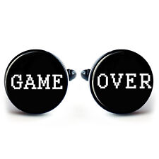 GAME OVER GAMING CUFFLINKS BLACK METAL + FREE GIFT BOX  & 1ST CLASS POST