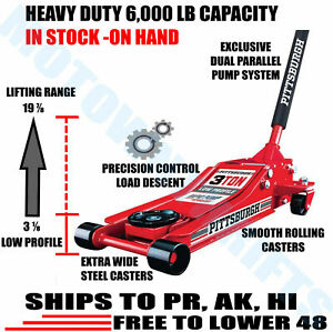 3 Ton Low Profile Floor Jack HEAVY DUTY Steel Rapid Lift Pump Hydraulic Car Auto