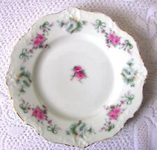 Hermann Ohme Germany Elysee Pink Roses Blue Ribbons Bread and Butter Plate 1920s