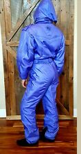 Vtg 80s 90s DESCENTE Womens Ski Snowsuit One 1 Piece Sz 8 Periwinkle shiny NEON