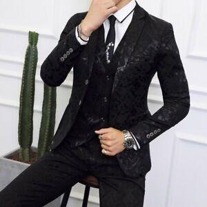 Mens One Button Blazer Wedding Dress Formal Jacket&Pant Suits Floral 3 Piece US