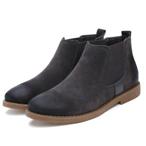 Fashion Casual Mid-Cut Winter Warm Chelsea Boots Mens Suede Ankle Boots Oversize