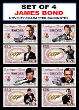 SET OF 4 - James Bond Novelty Character Banknotes