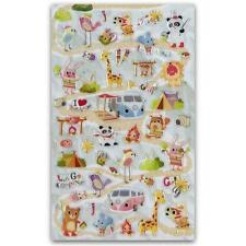 ✰ CUTE ANIMAL CAMPING TRIP GEL STICKERS Sheet Kid Craft Scrapbook Raised Sticker