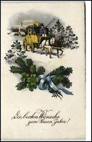 Gruss NEUJAHR Glückwünsche Neues Jahr um 1940/50 mit Postkutsche Motiv alte AK