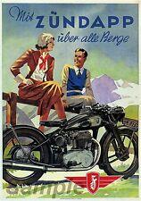 VINTAGE ZUNDAPP MOTORCYCLE A4 POSTER PRINT