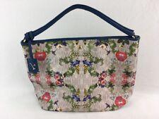 Furla Floral Blue Leather/PVC Large Shoulder Bag Tote D1759/