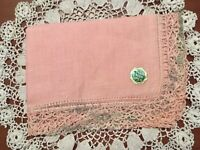 IRISH LINEN Handkerchief Pink with Pink and Green Variegated Crocheted Edging