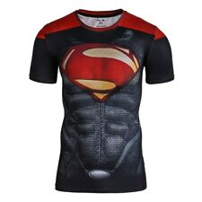 Men's Women Marvel Superman Print T-Shirt Short Sleeves Compression Fitness (S)