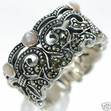 Solid 925 Sterling Silver Marcasite Pink Mother Of Pearl Band Ring Size-7 '