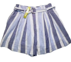 Gianni Bini Womens Shorts Size Large Striped Belted Blue White Bee NWT