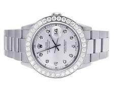 Mens Rolex Datejust Quickset 16014 Oyster 36MM Silver Dial Diamond Watch 5.0 Ct