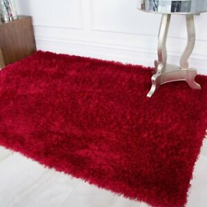 High Quality Red Shaggy Rug Thick Deep Soft Non Shed Living Room Area Rug...