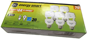 GE Light Bulb Spiral 5 Pack 20 Watt = 75 Watt Energy Smart 1200 Lumens Of Light