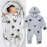 Newborn Toddler Baby Boy Girls Hoodie Romper Jumpsuit Bodysuit Clothes Outfits