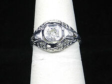 Estate Antique Platinum Art Deco 0 .55 Carat Diamond  Filigree Ring